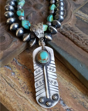 Schaef Designs Kingman Turquoise & Sterling Silver Feather Pendant | New Mexico