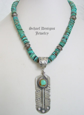 Schaef Designs Kingman turquoise & sterling silver Southwestern feather pendant | Arizona