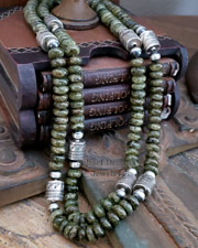 Schaef Designs green garnet & Sterling Silver Southwestern Basics Tube Bead Necklaces | New Mexico