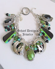 Schaef Designs Green Turquoise Black Onyx Gaspeite Turquoise & Sterling Silver Coyote Charm Bracelet | New Mexico