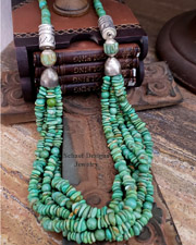 Schaef Designs green turquoise and sterling silver tube bead multi strand long necklace | Schaef Designs | New Mexico