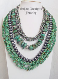 Schaef Designs Green Turquoise Nugget & Sterling Silver Necklace Pairings | New Mexico