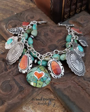 Schaef Designs Campo Frio Turquoise Spiny Oyster 3 strand Native American Charm Bracelet Necklace | New Mexico