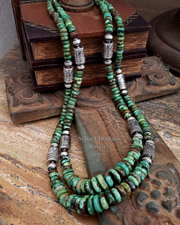 Schaef Designs High end green turuqoise & Sterling Silver Tube Bead Necklace set| New Mexico