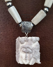 Schaef Designs Carved Antler Shed Maiden & Horses Pendant on Antler & Navajo Pearl Necklace | New Mexico