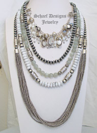 Schaef Designs Howlite Moonstone & Sterling Silver Necklace Pairings | New Mexico