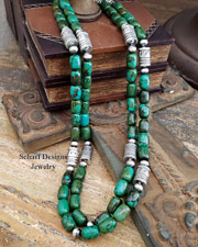Schaef Designs Southwestern Hubei Turquoise & Sterling Silver Tube Bead Necklaces | Arizona