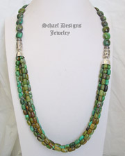 Schaef Designs Long Multi Strand Hubei Turquoise & Sterling Silver Southwestern Necklace| New Mexico