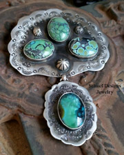 Schaef Designs Hubei Turquoise & Sterling Silver Fan Pendant | New Mexico