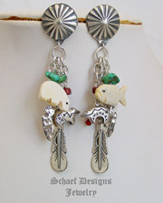 Schaef Designs Sterling Silver Turqouise Charm Dangle POST Earrings | New Mexico