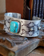 Schaef Designs Indian Pony Stamped Sterling Silver & Nacosari Turquoise Old Style Cuff Bracelet | Arizona