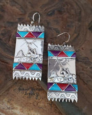Artist signed Native American Zuni sugilite, turquoise, coral & sterling silver indian rug earrings | Schaef Designs  | New Mexico