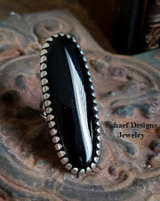 J. Platero Artist Signed Navajo Onyx & Sterling Silver Ring SZ 8 | Schaef Designs | New Mexico