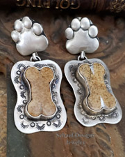 Schaef Designs Jasper & Sterling Silver Dog Bone Paw Print POST Earrings| New Mexico