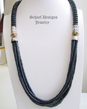 Schaef Designs Black jet onyx and sterling silver tube bead multi strand long necklace | New Mexico