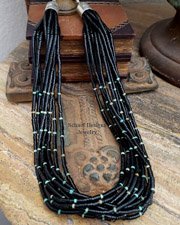 Santa Domingo Jet & Turquoise Multi Strand & Single Strand Necklace Set | New Mexico