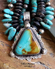 Schaef Designs LARGE Kingman Turquoise & Stamped Sterling Silver Southwestern Pendant | New Mexico