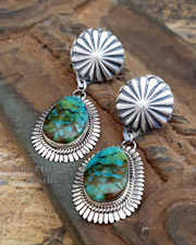 Kingman Turquoise Button Southwestern earrings | Arizona