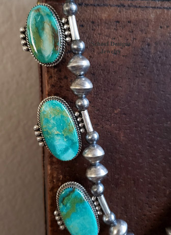 High Grade Old Stock Kingman Turquoise & Sterling Silver Lariat Necklace & Earrings Set | Arizona