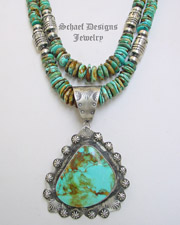 Schaef Designs Large Kingman Turquoise & Sterling Silver Pendant | New Mexico