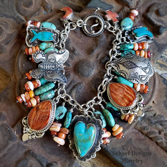 Schaef Designs kingman Turquoise, spiny oyster & sterling silver Southwestern Charm bracelet | Arizona
