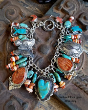 Schaef Designs Kingman turquoise orange spiny oyster & sterling silver hearts Southwestern charm bracelet | New Mexico