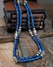 Schaef Designs Kyanite & Sterling Silver Tube Bead Necklaces | New Mexico