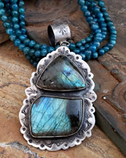 Schaef Designs Labradorite & Stamped Sterling Silver Southwestern Pendant | New Mexico