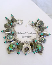 Schaef Designs Labradorite Turquoise Abalone Sterling Silver Southwestern Charm Bracelet | New Mexico