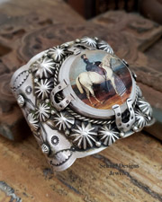 Schaef Designs Lady on Horseback Bridle Rosette & Sterling silver cuff bracelet | New Mexico