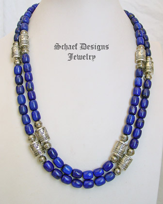 Schaef Designs lapis barrel & sterling silver tube bead necklace set | New Mexico