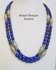 Schaef Designs Lapis Barrel Beads & Sterling Silver tube bead necklace set | New Mexico
