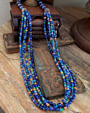 Schaef Designs Lapis Multi Stone & Sterling Silver 5 Strand Long Necklace | New Mexico