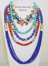 Schaef Lapis Apple Coral & Sterling Silver Necklace Pairings | New Mexico