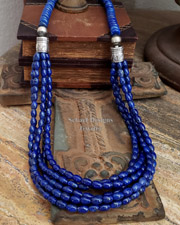 Schaef Designs cobalt blue lapis lazuli and sterling silver tube bead multi strand long necklace | New Mexico