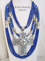 Schaef Designs lapis lazuli and sterling silver tube bead multi strand long necklaces & sterling silver Long bench bead necklace with large Vince Platero Concho Pendant | New Mexico