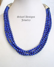 Schaef Designs Deep Cobalt Blue Lapis & Sterling Silver 4 Strand Necklace | New Mexico