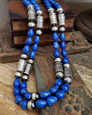 Schaef Designs Lapis & Sterling Silver Tube & Bench Bead Southwestern Necklaces | New Mexico
