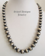 Schaef Designs Large Graduated Sterling Silver Navajo Pearl Single Strand Necklace | New Mexico