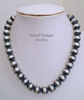 Schaef Designs 14mm 20 inch sterling silver heavy Navajo Pearl Southwestern Necklace | New Mexico