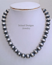 Schaef Designs LARGE Heavy 14-16mm Sterling Silver Navajo Pearl 20 inch Necklace | New Mexico