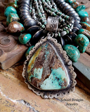 Schaef Designs LARGE Royston Turquoise & Sterling Silver Southwestern Pendant | New Mexico