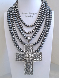 Schaef Designs Large Sterling Silver Cross Pendant & Navajo Pearls Necklaces Pairings | New Mexico