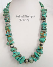 Schaef Designs Large Kingman Turquoise Nugget Single Strand Nugget Necklace | New Mexico