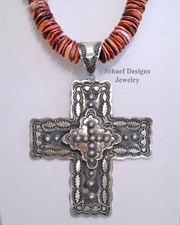 Artist signed VJP Vincent Platero hand Stamped Silver large 3 d cross Pendant | Schaef Designs | New Mexico