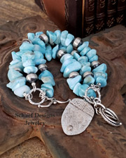 Schaef Designs larimar & sterling silver charm bracelet | New Mexico