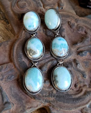 Schaef Designs Larimar & Sterling Silver Rosette Dangle POST Earrings | New Mexico