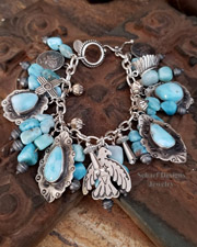 Schaef Designs Larimar & sterling silver thunderbird charm bracelet necklace | New Mexico