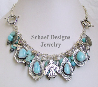 Schaef Designs Labradorite, Tibetan Turqoise, Abalone & Sterling Silver Charm Bracelet Necklace | New Mexico