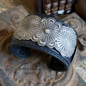 Dark brown leather & sterling silver concho cuff bracelet | Schaef Designs | New Mexico